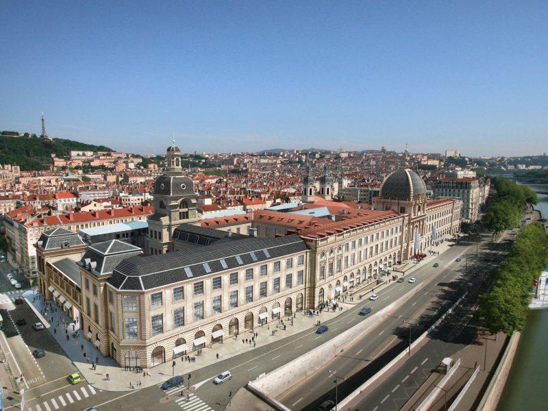 Grand Hôtel Dieu Lyon, vue aérienne, perspective