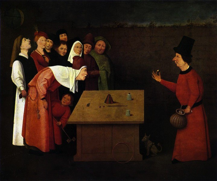 BOSCH, Hieronymus Le magicien, 1475-80 Oil on panel, 53 x 75 cm Musée Municipal, Saint-Germain-en-Laye (source: WGA)